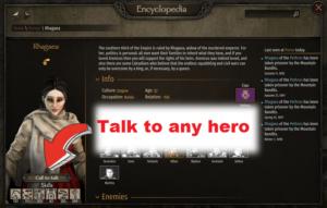 Telepathy Talk to any hero from encyclopedia MB2 Bannerlord mod 1 تحدث الى اى شخصية باللعبة من خلال الموسوعة