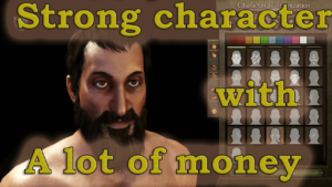 Start the game with a strong character and a lot of money Start the game with a strong character and a lot of money