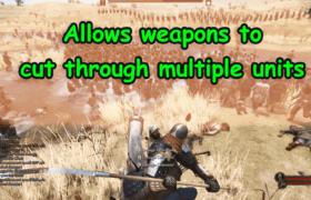 allows weapons to cut through multiple units اصابة اكثر من شخص بضربة واحدة